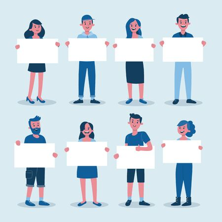Collection of young people holding blank placards. Bundle of male and female full body cartoon character. Colorful vector illustration in flat style. 版權商用圖片 - 140289017