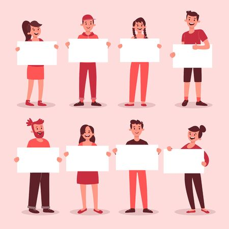 Collection of young people holding blank placards. Bundle of male and female full body cartoon character. Colorful vector illustration in flat style.