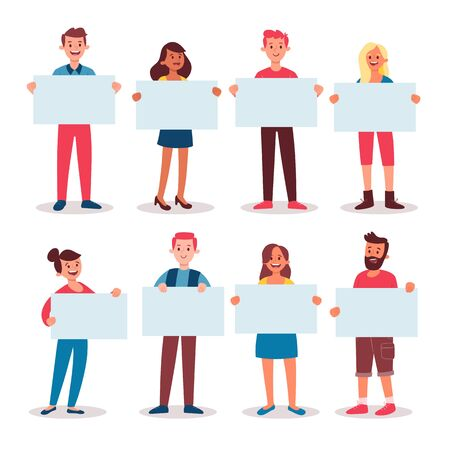 Collection of young people holding blank placards. Bundle of male and female full body cartoon character. Colorful vector illustration in flat style. Isolated on white background.
