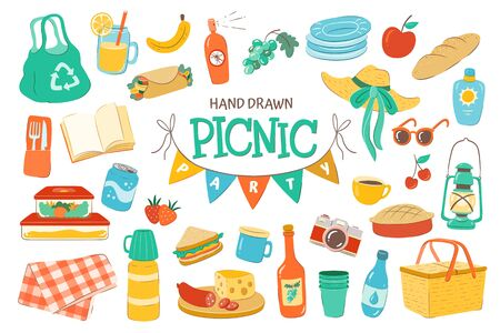 Set for a picnic day. Hand drawn picnic basket, drinks, cups, plates, food, sun protect and more. Isolated on white background. Ilustrace