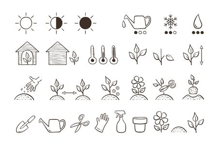 Plant icon set. Collection of icons for descripting the characteristics and needs of each type of plant. Doodle vector icons isolated on white background. Stock Illustratie