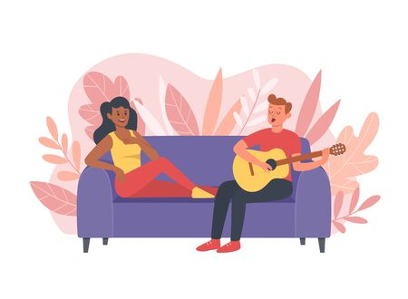 Young couple are spending time at home. The guy is playing the guitar and singing and the woman is having fun listening to him. Vector illustration with cute floral background.