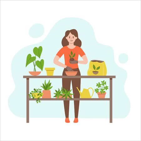 Woman transplanting a plant into another pot. Gardening concept. Table full of plants and a watering can. Vector illustration isolated on white background.
