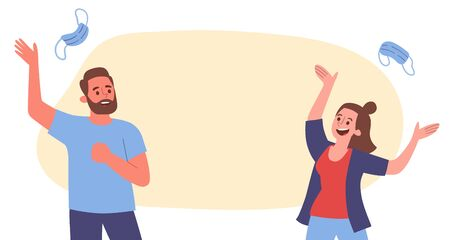Young couple celebrating the end of the COVID-19 virus pandemic by throwing their surgical masks into the air. Horizontal banner design, with blank space.