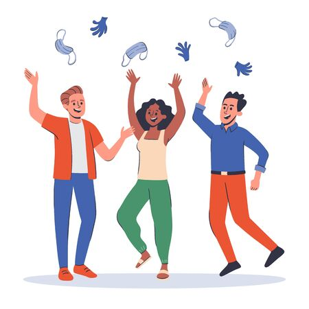 Group of three young people celebrating the end of the pandemic, laughing and throwing their surgical masks and gloves into the air. Hand drawn vector illustration.