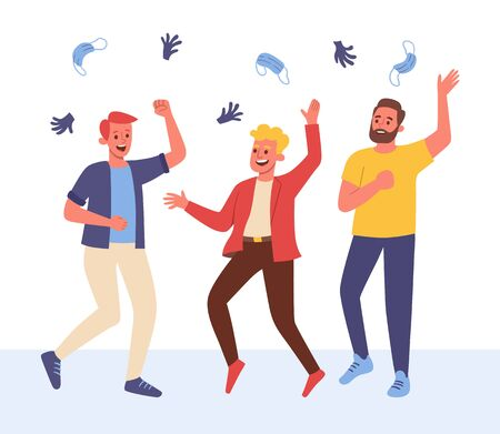 Group of three friends celebrating the end of the pandemic, laughing and throwing their surgical masks and gloves into the air.