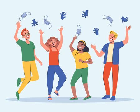 Group of four friends celebrating the end of the pandemic, laughing and throwing their surgical masks and gloves into the air. Hand drawn vector illustration.