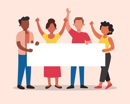 Multiracial activists holding a protesting banner with blank space for adding your slogan. Human rights concept. Tolerance and no racism concept. Vector illustration in flat cartoon style.