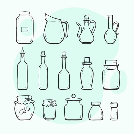 Kitchen utensils. Bottles and jars. Glass bottle, oilcar, wine bottle, water jar. Hand drawn outlined style collection.
