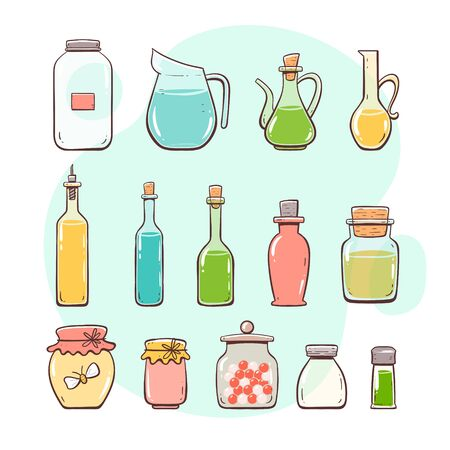 Kitchen utensils. Bottles and jars. Glass bottle, oilcar, wine bottle, water jar. Hand drawn colorful style collection.