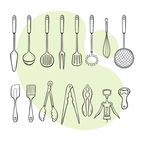 Cooking tools. Collection of kitchen utensils for cooking, serving, stirring and opening. Hand drawn outlined style collection.
