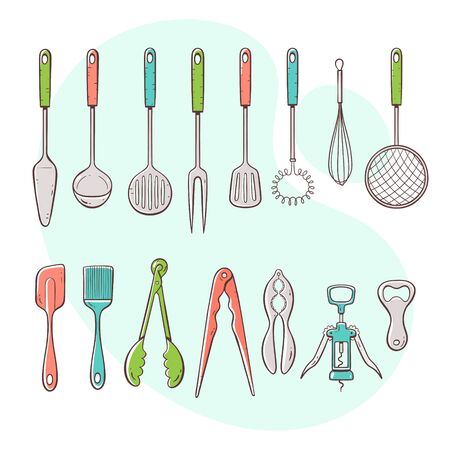 Cooking tools. Collection of kitchen utensils for cooking, serving, stirring and opening. Hand drawn colorful style collection. 向量圖像