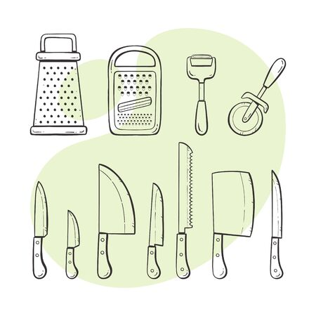 Cooking tools. Collection of kitchen utensils: knives, graters and peelers. Hand drawn outlined style collection.