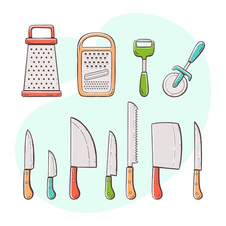 Cooking tools. Collection of kitchen utensils: knives, graters and peelers. Hand drawn colorful style collection.
