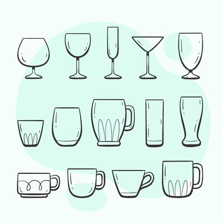 Kitchen utensils. Glasses and cups. Collection of kitchen utensils for drinking. Hand drawn outlined style collection.