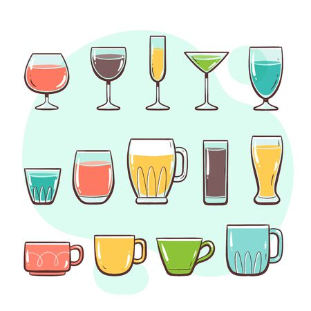 Kitchen utensils. Glasses and cups. Collection of kitchen utensils for drinking. Hand drawn colorful style collection.