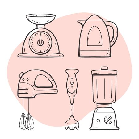 Kitchen appliances. Scale, mixer, electric jug, glass mixer, blender. Doodle outline collection.