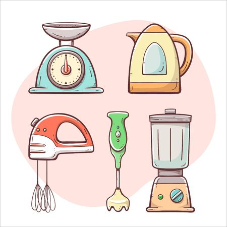 Kitchen appliances. Scale, mixer, electric jug, glass mixer, blender. Hand drawn colorful collection. Vectores
