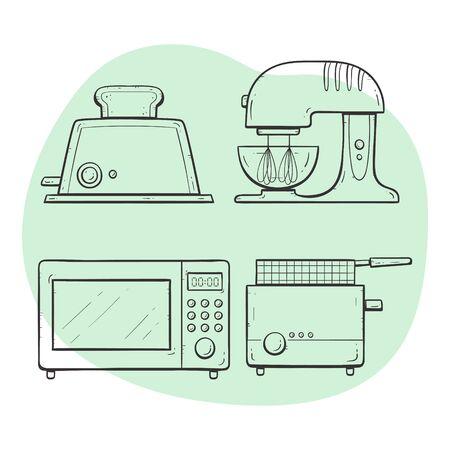 Kitchen appliances. Toaster, microwave, deep fryer, mixer. Doodle outline collection. Vectores