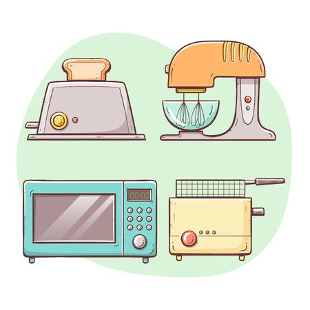 Kitchen appliances. Toaster, microwave, deep fryer, mixer. Hand drawn colorful collection.