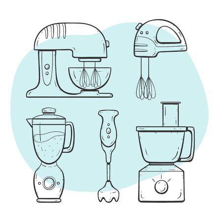 Kitchen appliances. Mixer and blender set. Doodle outlined collection.