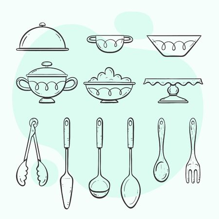 Kitchen utensils. Collection of objects for serving food. Doodle outlined style collection. Vectores