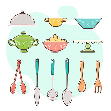 Kitchen utensils. Collection of objects for serving food. Hand drawn colorful style collection. 向量圖像