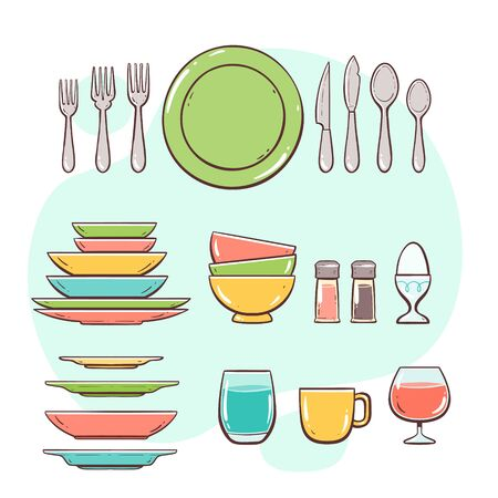 Kitchen utensils. Plates, glasses and cutlery. Hand drawn colorful style collection. 向量圖像