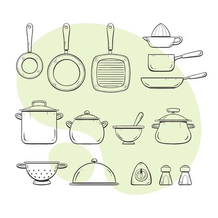 Cooking tools. Collection of pans and pots. Doodle outlined style collection.