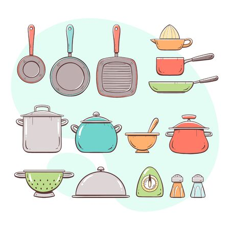 Cooking tools. Collection of pans and pots. Hand drawn colorful style collection.