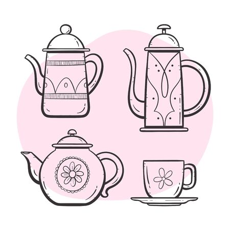 Teapot set. Ornamented teapot, milk mug, coffee and tea cup. Doodle outlined style collection. Set 1 of 5. 向量圖像