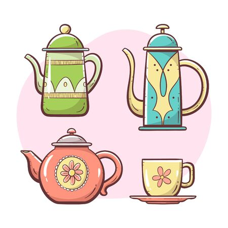 Teapot set. Ornamented teapot, milk mug, coffee and tea cup. Hand drawn colorful style collection. Set 1 of 5. Vectores