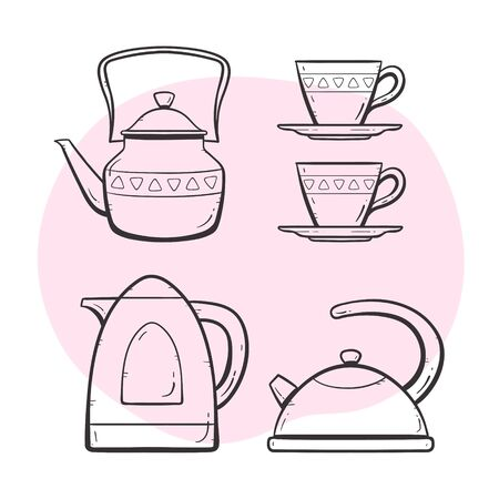 Tea and coffee maker set. Ornamented teapot, milk and water mug, coffee and tea cup, coffee maker. Doodle outlined style collection. Set 2 of 5.