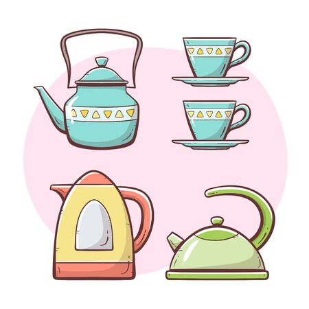 Tea and coffee maker set. Ornamented teapot, milk and water mug, coffee and tea cup, coffee maker. Hand drawn colorful style collection. Set 2 of 5. Vectores