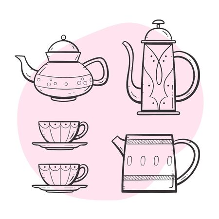 Teapot set. Ornamented teapot, milk mug, coffee and tea cups. Doodle outlined style collection. Set 3 of 5.