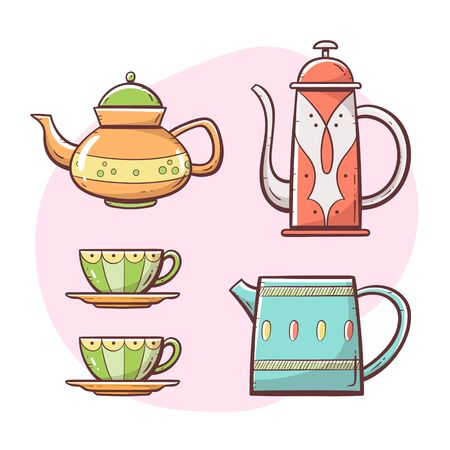 Teapot set. Ornamented teapot, milk mug, coffee and tea cups. Hand drawn colorful style collection. Set 3 of 5.