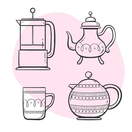 Tea and coffee maker set. Ornamented teapot, coffee maker, coffee and tea cup. Doodle outlined style collection. Set 4 of 5. 向量圖像