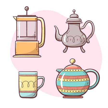 Tea and coffee maker set. Ornamented teapot, coffee maker, coffee and tea cup. Hand drawn colorful style collection. Set 4 of 5. Vectores