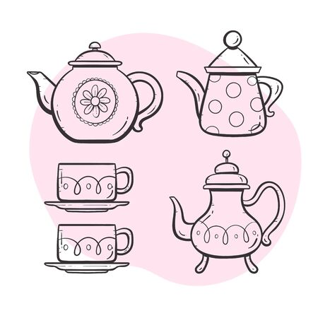 Teapot set. Cute ornamented teapot, milk mug, coffee and tea cups. Doodle outlined style collection. Set 5 of 5. 向量圖像