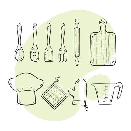 Cooking tools. Collection of kitchen utensils for cooking, serving, stirring and cutting. Doodle outlined style collection.