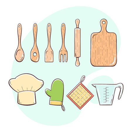 Cooking tools. Collection of kitchen utensils for cooking, serving, stirring and cutting. Hand drawn colorful style collection.