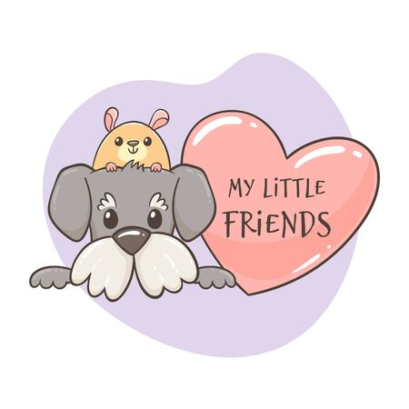 Funny hamster peeking over the head of a cute dog, next to a heart with the quote