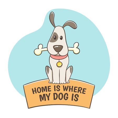 Cute hand-drawn dog with a bone sitting on the quote