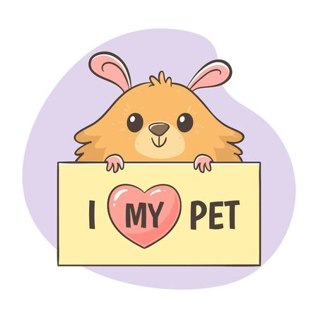 Cute hand-drawn hamster holding a poster with the quote