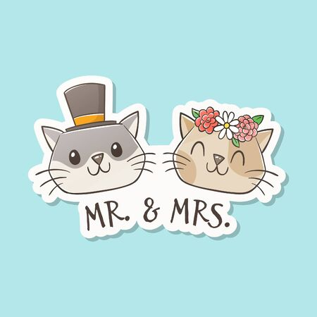 Mr. and Mrs. cat get married. Cute hand-drawn lovely cats with bridal ceremony hats. Cats lovers concept. Couple and marriage concept. Cartoon vector sticker, perfect for greeting cards, t-shirts, decorative elements, and pet design products.