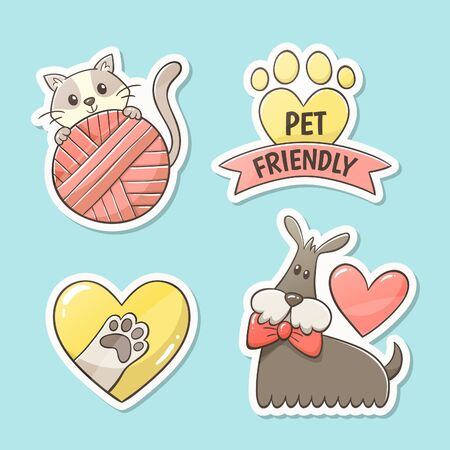Pet friendly stickers. Hand-drawn cute label design: cat with ball of wool, pet paw inside a heart, footprint with the text