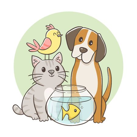 Cute portrait of a group of pets: a bird, a cat, a dog and a fish inside its fish tank. Hand-drawn cartoon vector illustration. Perfect for greeting cards design, t-shirts, decorative elements, pet stores and products for pets.