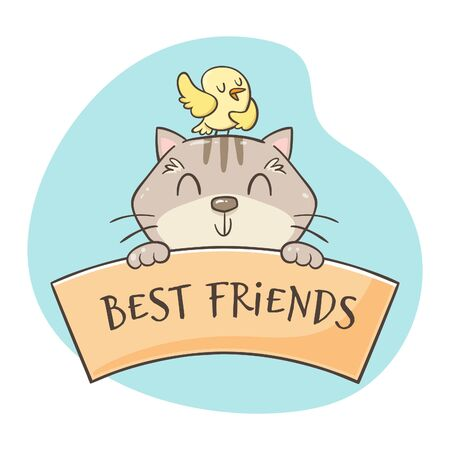 Cute hand-drawn smiling cat with a bird singing on its head. Friendship concept. Pet lovers concept. Perfect for greeting cards, t-shirts, decor elements, and pet design products.