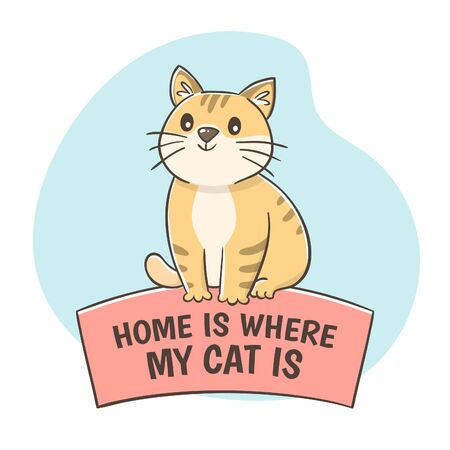 Cute hand-drawn cat sitting on the quote