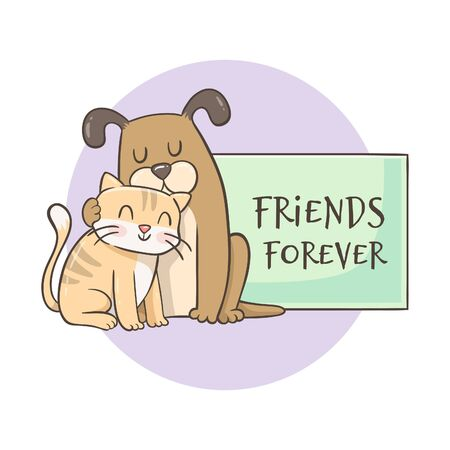Dog hugging a cat. Cute hand-drawn character design with the text